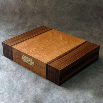 Cufflink Box in Birds Eye Maple and Walnut