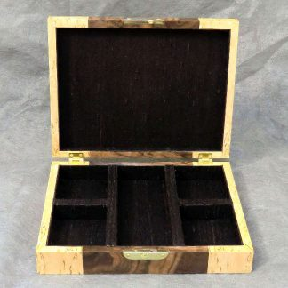 Cufflink Box in Walnut Burr and Masur Birch