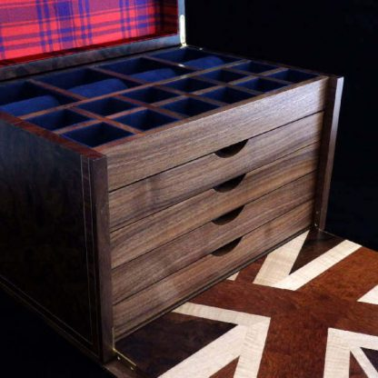 Valet Box in American Black Walnut Burr with Kyle Tartan