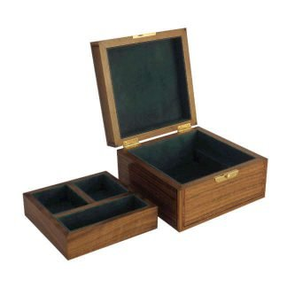 Valet Box in Black Walnut with Green Suede