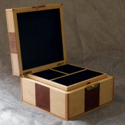 Valet Box in Sapele Pomelle and Ripple Maple